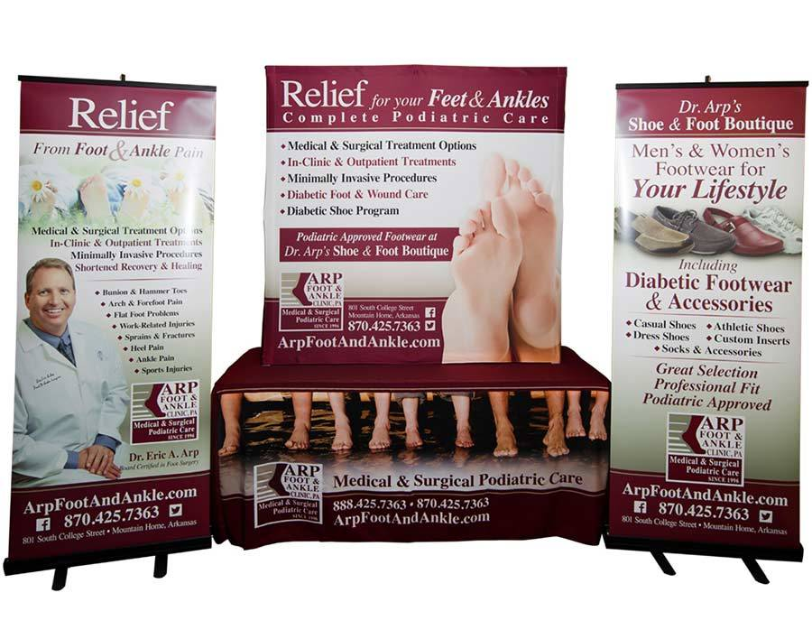 Arp Foot & Ankle Clinic - Table top booth, retractable banners, tablethrow