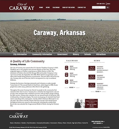 City of Caraway, Arkansas - Website, Mobile Site