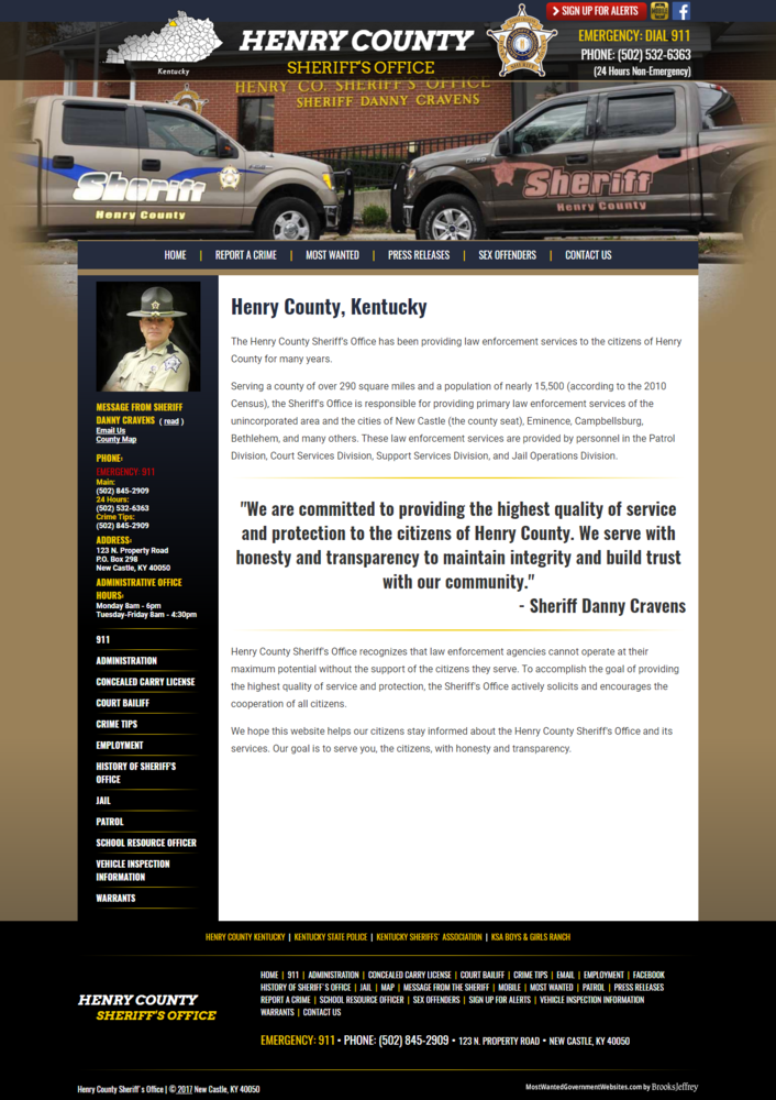 Henry County Kentucky Sheriff Department - Website