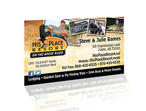 His Place Resort on the White River - Business Cards